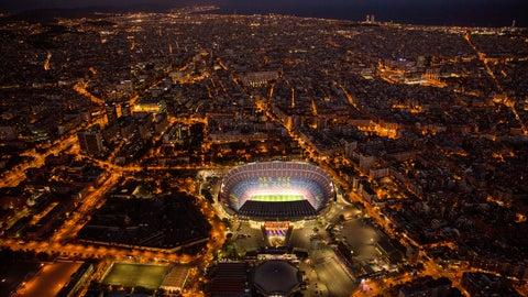 <p>               FILE - In this Tuesday, Sept. 19, 2017 file photo, the Camp Nou stadium is illuminated in Barcelona, Spain. (AP Photo/Emilio Morenatti, File)             </p>