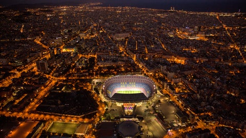 <p>               FILE - In this Tuesday, Sept. 19, 2017 file photo, the Camp Nou stadium is illuminated in Barcelona, Spain. (AP Photo/Emilio Morenatti, File)             </p>