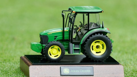 <p>               FILE - In this Saturday, July 13, 2013 file photo, A John Deere tractor tee marker is seen during the third round of the John Deere Classic golf tournament at TPC Deere Run in Silvis, Ill.  Officials decided Thursday, May 28, 2020 to cancel this year's tournament. (AP Photo/Charlie Neibergall, File)             </p>