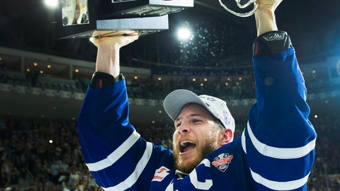 <p>               FILE - In this June 14, 2018, file photo, Toronto Marlies right wing Ben Smith hoists the Calder Cup after Game 7 of the AHL Calder Cup final against the Texas Stars in Toronto. The American Hockey League has canceled the rest of its season because of the coronavirus pandemic. President and CEO David Andrews announced the league 'has determined that the resumption and completion of the 2019-20 season is not feasible in light of current conditions.' The AHL's Board of Governors made that determination in a conference call Friday, May 8, 2020. (Nathan Denette/The Canadian Press via AP, File)             </p>