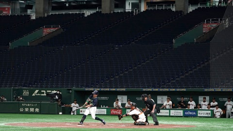 <p>               FILE - In this Feb. 29, 2020, file photo, spectators' stands are empty during a play in a preseason baseball game between the Yomiuri Giants and the Yakult Swallows at Tokyo Dome in Tokyo. Japan's professional baseball season will open on June 19 under a plan that excludes fans, the Japanese news agency Kyodo reported on Monday, May 25, 2020. (AP Photo/Eugene Hoshiko, File)             </p>