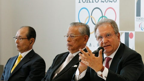 <p>               FILE - In this  Friday, Aug. 7, 2015 filer, World Baseball Softball Confederation President Riccardo Fraccari, right, accompanied by Japanese baseball legend Sadaharu Oh, left, and Nippon Professional Baseball Commissioner Katsuhiko Kumazaki, speaks to the media at a press conference in Tokyo. For World Baseball Softball Confederation president Riccardo Fraccari, it seems like such a sure home run that he can't even imagine why anyone wouldn't want to be involved. No wonder the refusal of Major League Baseball and its players' association to send top stars to the Tokyo Games has frustrated Fraccari for years. Now, with the Olympics postponed for a full year due to the coronavirus pandemic, and the current MLB season on hold, Fraccari has the unexpected opportunity to make one final pitch to the sport's biggest league. (AP Photo/Ken Aragaki, File)             </p>