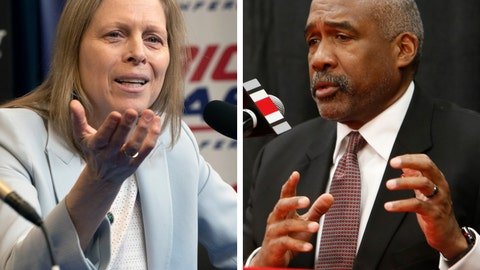 <p>               FILE - At left, in a March 12, 2020, file photo, Big East Conference Commissioner Val Ackerman speaks to reporters in New York. At right, in a Dec. 4, 2018, file photo, Ohio State athletics director Gene Smith answers questions during a news conference in Columbus, Ohio. The NCAA announced Wednesday, April 29, 2020, that its Board of Governors supports a plan that gives athletes the ability to cash in on their names, images and likenesses as never before and without involvement from the association, schools or conferences. The board  on Monday and Tuesday, April 27-28, 2020, reviewed detailed recommendations put forth by a working group led by Ohio State athletic director Gene Smith and Big East Commissioner Val Ackerman. (AP Photo/File)             </p>