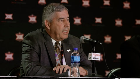 <p>               Big 12 commissioner Bob Bowlsby talks to the media after canceling the remaining NCAA college basketball games in the Big 12 Conference tournament due to concerns about the coronavirus Thursday, March 12, 2020, in Kansas City, Mo. The biggest conferences in college sports all canceled their basketball tournaments because of the new coronavirus, seemingly putting the NCAA Tournament in doubt. (AP Photo/Charlie Riedel)             </p>