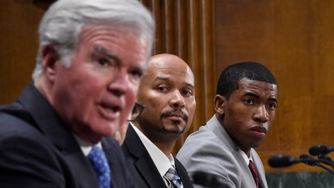 <p>               National Collegiate Athletic Association Student-Athlete Advisory Committee Chair Kendall Spencer, right, and National College Players Association Executive Director Ramogi Huma, center, listen as National Collegiate Athletic Association President Mark Emmert, left, testifies during a Senate Commerce subcommittee hearing on Capitol Hill in Washington, Tuesday, Feb. 11, 2020, on intercollegiate athlete compensation. (AP Photo/Susan Walsh)             </p>