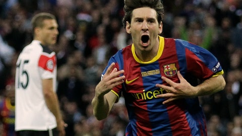 <p>               FILE - In this May 28, 2011 file photo, Barcelona's Lionel Messi celebrates scoring against Manchester United during their Champions League final soccer match at Wembley Stadium, London. L is for Lionel Messi. The driving force behind Barcelona's most recent successes, Lionel Messi's current total of 114 goals is second only to Cristiano Ronaldo, and sets them both up as the joint greatest players of this generation. (AP Photo/Matt Dunham, File)             </p>