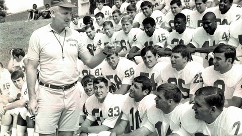 <p>               This Sept. 1, 1969, photo shows Maryland football coach Roy Lester greeting Maryland NCAA college football players on picture day in College Park, Md. Lester, who sandwiched a disappointing three-year stint as Terrapins coach between a highly successful career at the high school level, has died at the age of 96. His daughter, Amy Lester Greco, says her father died Sunday, May 3, ,3030, in Rockville, Maryland, due to complications from the new coronavirus. (Paul Hutchins/The Baltimore Sun via AP)             </p>