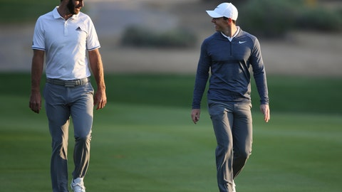 <p>               FILE - In this Jan. 18, 2018, file photo, Dustin Johnson of the United States, left, and Rory McIlroy of Northern Ireland talk on the 10th fairway during the first round of the Abu Dhabi Championship golf tournament in Abu Dhabi, United Arab Emirates. Dustin Johnson left The Players Championship two months ago and didn't play golf again until Sunday. He figured his game needed to be in shape for Rory McIlroy, his partner, in a charity match Sunday at Seminole that will be live golf's return to television. (AP Photo/Kamran Jebreili, File)             </p>