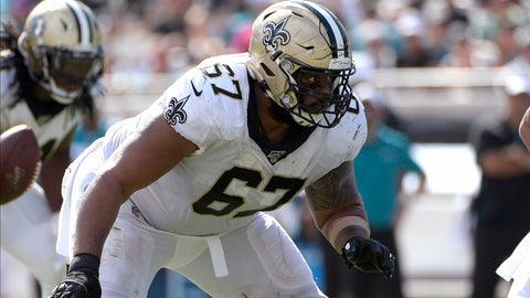 <p>               FILE - In this Oct. 13, 2019, file photo, New Orleans Saints' Larry Warford (67) blocks against the Jacksonville Jaguars during the second half of an NFL football game in Jacksonville, Fla. The Saints have cut three-time Pro Bowl right guard Warford, whose three-year run as a starter was cast into doubt by the club's selection of interior lineman Cesar Ruiz in the first round of the recent NFL draft. Warford's termination was announced by general manager Mickey Loomis on Friday, May 8, 2020. (AP Photo/Phelan M. Ebenhack, File)             </p>