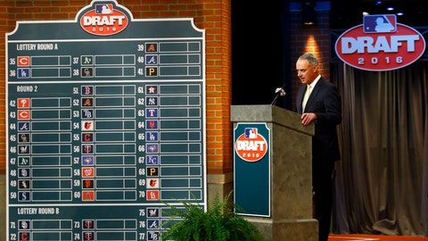 <p>               FILE - In this June 9, 2016, file photo, Major League BaseballCommissioner Rob Manfred speaks during the MLB draft, in Secaucus, N.J. Major League Baseball will cuts its amateur draft from 40 rounds to five this year, a move that figures to save teams about $30 million. Clubs gained the ability to reduce the draft as part of their March 26 agreement with the players' association and MLB plans to finalize a decision next week to go with the minimum, a person familiar with the decision told The Associated Press. The person spoke Friday, May 8, 2020, on condition of anonymity because no decision was announced. (AP Photo/Julio Cortez, File)             </p>