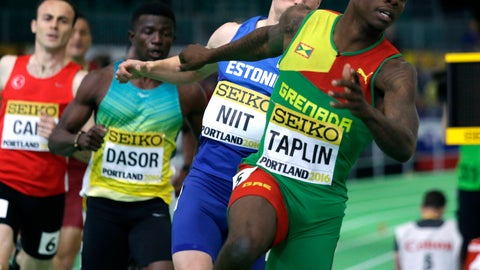 <p>               FILE - In this Friday, March 18, 2016 file photo, Grenada's Bralon Taplin, foreground, competes in a heat of the men's 400-meter sprint during the World Indoor Athletics Championships, in Portland, Ore. Olympic finalist Bralon Taplin lost his appeal Tuesday, May 19, 2020 against a four-year ban for dodging a doping test, and will miss the Tokyo Games and the next two track and field world championships. (AP Photo/Elaine Thompson, File)             </p>