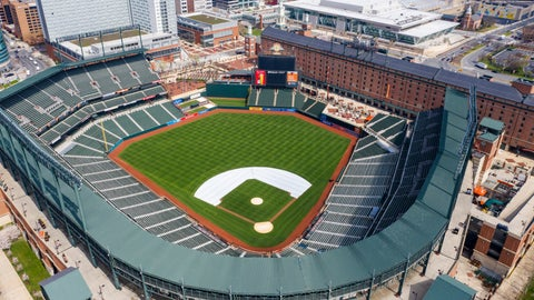 <p>               FILE - In this Thursday, March 26, 2020, file photo, Oriole Park at Camden Yards is closed on what would've been Opening Day in Baltimore, Md. Whenever baseball returns because of the coronavirus pandemic, there's an element that might come into play like never before: the sound of silence.  (AP Photo/Steve Helber, File)             </p>