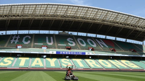 <p>               A worker trims the grass on the field at the Jeonju World Cup Stadium in Jeonju, South Korea, Thursday, May 7, 2020. South Korea's soccer league will kick off the season Friday, three days after the first pitch was thrown in baseball, in yet another sign that life in the country is starting to return to normal after strenuous efforts to contain the coronavirus.(Kim Orel/Newsis via AP)             </p>
