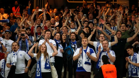 <p>               FILE - In this file photo taken on Nov. 18, 2019, Finland supporters applaud their team after the Euro 2020 group J qualifying soccer match between Greece and Finland at Olympic stadium in Athens, Greece. A stellar 2019 for soccer in Finland was meant to hit a new peak in the 2020 season. The national team qualified last November for its first major tournament and Finland was going to spend mid-June obsessed by the European Championship. (AP Photo/Thanassis Stavrakis)             </p>