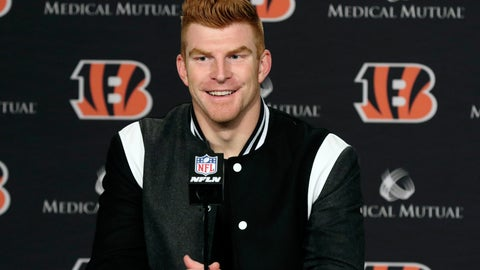 <p>               FILE - In this Dec. 29, 2019, file photo, Cincinnati Bengals quarterback Andy Dalton answers questions after his team defeated the Cleveland Browns in an NFL football game in Cincinnati. Dalton is coming home to Texas as Dak Prescott's backup with the Dallas Cowboys. Dalton and the Cowboys agreed to a one-year deal that guarantees the former Cincinnati starter $3 million and could be worth up to $7 million, two people with direct knowledge of the deal told The Associated Press on Saturday, May 2, 2020. (AP Photo/Gary Landers, File)             </p>