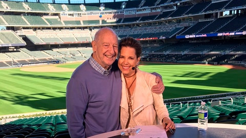 <p>               In this March 2017 photo provided by Hannah Storm, Mike Storen poses with daughter Hannah Storm at the Atlanta Braves' new ballpark in Atlanta. Storen, a former ABA commissioner and multisport marketing whiz, died Thursday, May 7, 2020. He was 84. Storm said her father died at Emory University Hospital in Atlanta of complications from cancer. (Courtesy of Hannah Storm via AP)             </p>