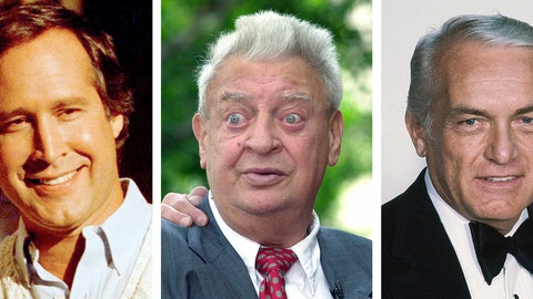 """<p>               FILE - From left are file photos showing Chevy Chase in 1986, Rodney Dangerfielkd in 2002 and Ted Knight in 1981. """"Caddyshack,"""" the film that sparked countless oft-repeated quotes, most of them made up on the fly by comic geniuses and movie headliners Bill Murray, Chevy Chase, Rodney Dangerfield and Ted Knight, has been out for 40 years and hasn't lost one bit of its popularity. Caddyshack was selected as the No. 4 — fore? — film in The Associated Press' list of all-time top sports movies. (AP Photo/File)             </p>"""