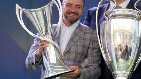 <p>               FILE - In this Saturday, April 21, 2018 file photo, Andriy Pavelko, President Ukrainian soccer federation, hold the Champions league trophies next to Vitali Klitschko, Mayor of Kiev, at the hand over ceremony in Kiev, Ukraine. The highest-ranking soccer official in Ukraine has been the target of UEFA and FIFA investigators about millions of dollars paid to his national federation. UEFA executive committee member Andriy Pavelko cooperated with its probe and denied any wrongdoing according to leaked letter he wrote to FIFA's ethics committee.  (AP Photo/Efrem Lukatsky, file)             </p>