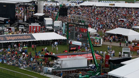 <p>               FILE - In this May 17, 2014, file photo, fans walk in the infield before the 139th Preakness Stakes horse race at Pimlico Race Course in Baltimore. The Maryland Jockey Club and New York Racing Association have yet to announce new dates for the Preakness and Belmont. The Kentucky Derby is scheduled for Sept. 5. (AP Photo/Mike Stewart, File)             </p>