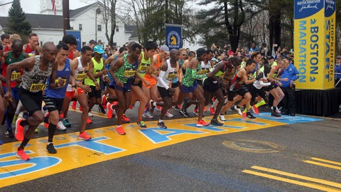 <p>               FILE - In this April 15, 2019, file photo, the elite men break from the start of the 123rd Boston Marathon in Hopkinton, Mass. The 2020 Boston Marathon, which was rescheduled to run on Sept. 14th, was canceled Thursday May 28, 2020 for the first time in its 124-year history due to the COVID-19 virus outbreak. (AP Photo/Stew Milne, File)             </p>