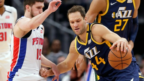 <p>               FILE - In this March 7, 2020, file photo, Utah Jazz forward Bojan Bogdanovic (44) drives against Detroit Pistons guard Sviatoslav Mykhailiuk (19) during the first half of an NBA basketball game in Detroit. The Utah Jazz announced that forward Bogdanovic underwent surgery Tuesday, May 19, 2020, to repair a ruptured ligament in his right wrist. (AP Photo/Duane Burleson, File)             </p>