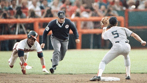 <p>               FILE - In this Oct. 11, 1986, file photo, California Angels' Gary Pettis, left, is caught stealing second base by Boston Red Sox shortstop Spike Owen (5) as umpire Richie Garcia, center, looks on during the third inning of a baseball game in Anaheim, Calif. Ten years after Garcia was fired by Major League Baseball, he wants to set the record straight: He did not get fired for trying to evaluate his son-in-law, then a minor league umpire. Garcia thinks baseball's top executives just wanted him out. (AP Photo/Jeff Robbins, File)             </p>