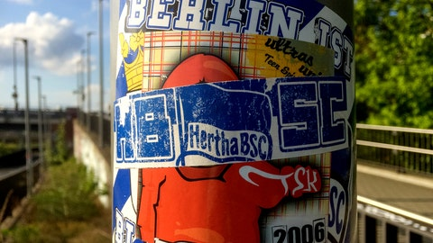 <p>               Stickers of the German first divsion, Bundesliga, soccer teams Hertha BSC Berlin and 1.FC Union Berlin are pictured in Berlin, Germany, Sunday, May 3, 2020. The Bundesliga's second Berlin derby has been played on the streets even before the league was suspended for two months due to the coronavirus. Rival Hertha Berlin and Union Berlin supporters have been engaged in an battle for supremacy that has left the city's lampposts, road signs, transit stops and more festooned with stickers in their respective club colors. (AP Photo/Ciaran Fahey)             </p>