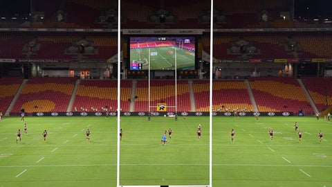 <p>               The Parramatta Eels and the Brisbane Broncos of the National Rugby League resume play without spectators, Thursday, May 28, 2020, in Brisbane, Australia. Two rounds of matches were played in the NRL in March before Australia and New Zealand went into lockdown and closed borders in a bid to slow the spread of COVID-19. (Darren England/AAP Image via AP)             </p>