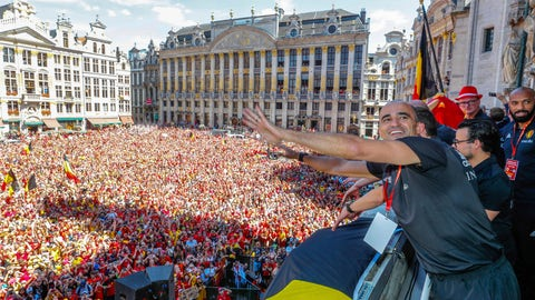 <p>               FILE - In this Sunday, July 15, 2018, photo, Belgian soccer team coach Roberto Martinez reacts on the balcony of the city hall at the Grand Place in Brussels. Martinez has signed a new contract to lead the Red Devils through the 2022 World Cup in Qatar. (Yves Herman, Pool Photo via AP, File)             </p>
