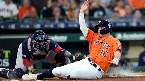 <p>               FILE - This May 24, 2019, file photo shows Houston Astros' Aledmys Diaz (16) scoring as Boston Red Sox catcher Sandy Leon reaches to tag him at home plate during the second inning of a baseball game in Houston. The Astros were scheduled to play the Red Sox in the first of consecutive weekend series matching teams that fired World Series-winning managers in the aftermath of a sign-stealing scandal. (AP Photo/David J. Phillip, File)             </p>