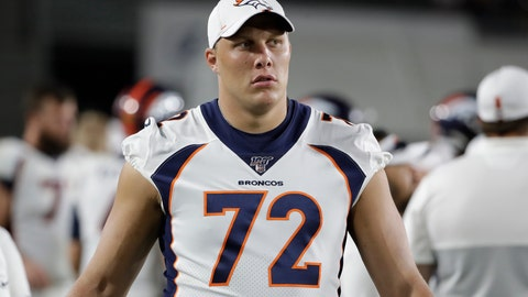 <p>               In this Aug. 24, 2019 file photo Denver Broncos offensive tackle Garett Bolles (72) stands near the field during an NFL preseason football game against the Los Angeles Rams in Los Angeles. A person with knowledge of the decision tells The Associated Press that the Broncos have declined the fifth-year contract option on left tackle Garett Bolles, Friday, May 1, 2020. (AP Photo/Rick Scuteri, file)             </p>