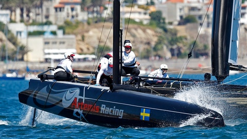 <p>               FILE - In this Aug. 7, 2011 file photo, Sweden's Artemis Racing AC45, skippered by Terry Hutchinson, left, from the United States, sails during the second day of racing at the America's Cup World Series in Cascais, near Lisbon. America's Cup teams are returning to the water in varying degrees nearly two months after the coronavirus pandemic forced the shutdown of what would have been an impressive global road show. (AP Photo/ Francisco Seco, File)             </p>