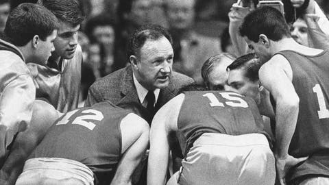 """<p>               FILE - In this Dec. 6, 1985, file photo, actor Gene Hackman gives fictional Hickory High basketball players instructions during filming of the final game of the movie """"Hoosiers"""" at Hinkle Fieldhouse on the Butler University campus in Indianapolis. """"Hoosiers"""" was voted the No. 1 sports movie of all time by the sports staff of The Associated Press. (AP Photo/Tom Strickland, FIle)             </p>"""