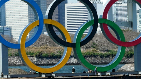 <p>               FILE - In this March 24, 2020, file photo, workers stand at the bottom of the Olympic rings at Tokyo's Odaiba district. Just two months after the unprecedented postponement. Chief Executive Toshiro Muto was asked Thursday, May 28, 2020 about progress rescheduling next year's Tokyo Olympics. (AP Photo/Eugene Hoshiko, File)             </p>