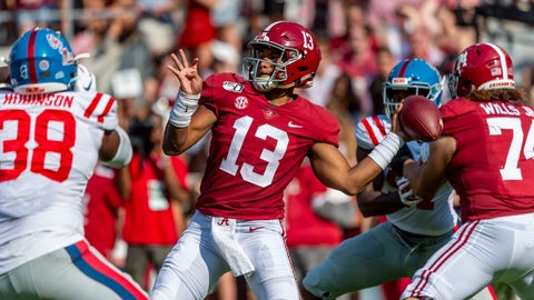 <p>               FILE - In this Sept. 28, 2019, file photo, Alabama quarterback Tua Tagovailoa (13) throws a pass during the first half of the team's NCAA college football game against Mississippi in Tuscaloosa, Ala. With an eye on the future, the Dolphins loaded up in the draft with 11 picks -- highlighted by quarterback Tua Tagovailoa. (AP Photo/Vasha Hunt, File)             </p>