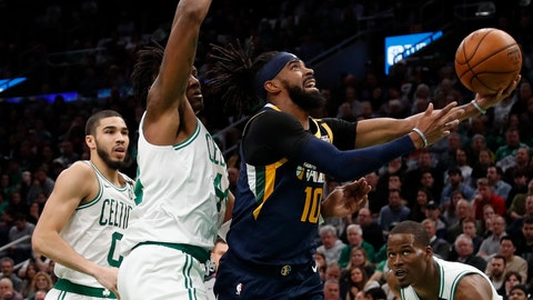 <p>               Utah Jazz's Mike Conley (10) goes to the basket past Boston Celtics' Robert Williams III during the first quarter of an NBA basketball game Friday, March 6, 2020, in Boston. (AP Photo/Winslow Townson)             </p>