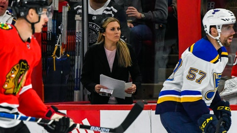 "<p>               FILE - In this March 8, 2020, file photo, broadcast team member Kendall Coyne Schofield works during the first period of an NHL hockey game between the Chicago Blackhawks and the St. Louis Blues, in Chicago. The Professional Women's Hockey Players Association enters its second season with plans to regionalize its structure by basing players in five hub cities, while also continuing its Dream Gap Tour series of barn-storming stops across North America. ""The new structure provides players with a more professional training environment on a regular basis, which will allow us to put the best product of women's professional hockey on the ice daily,"" two-time U.S. Olympian and PWHPA board president Kendall Coyne Schofield said in a released statement. (AP Photo/Matt Marton, File)             </p>"