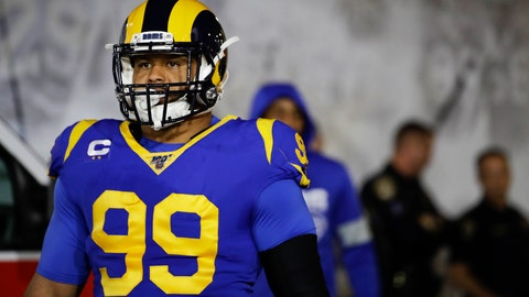 """<p>               In this Dec. 8, 2019, photo, Los Angeles Rams defensive tackle Aaron Donald waits to run onto the field for an NFL football game against the Seattle Seahawks in Los Angeles. Donald is not thrilled about the prospect of playing football without fans. The Rams' superstar defensive lineman doesn't see how the NFL could play a season in front of empty seats, saying it """"wouldn't be fun to me."""" (AP Photo/Marcio Jose Sanchez)             </p>"""
