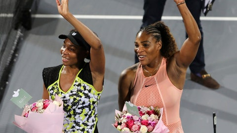 <p>               FILE - In this Dec. 27, 2018, file photo, Venus Williams, left, celebrates winning against her sister Serena, right, after a match on the opening day of the Mubadala World Tennis Championship in Abu Dhabi, United Arab Emirates. Serena Williams is looking forward to getting back to competing on a tennis court when the coronavirus pandemic permits it. Her older sister, Venus, is looking forward to hanging out at a rooftop bar. Two of the most famous and successful siblings in the history of sports shared those thoughts and more Tuesday, May 12, 2020, after doing some yoga together during an online session that offered workout tips and some laughs. (AP Photo/Kamran Jebreili, File)             </p>