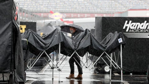 <p>               A man walks through the infield as rain falls before a NASCAR Cup Series auto race at Charlotte Motor Speedway Wednesday, May 27, 2020, in Concord, N.C. (AP Photo/Gerry Broome)             </p>