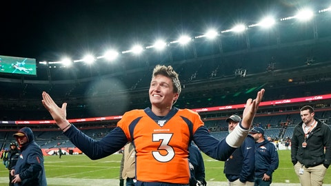 """<p>               FILE - In  this Dec. 29, 2019, file photo, Denver Broncos quarterback Drew Lock gestures after an NFL football game against the Oakland Raiders in Denver. While stressing that Lock has """"a long way to go"""" after spending the first half of his rookie season on injured reserve with a thumb injury, Denver Broncos president of football operations and general manager John Elway said he feels he's finally found a worthy successor to Peyton Manning. """"Now is the fun part of trying to fill around him,"""" Elway said. (AP Photo/Jack Dempsey, File)             </p>"""
