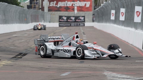 <p>               FILE - In this March 13, 2016, file photo, Oriol Servia, of Spain, drives the car of Will Power, of Australia, into Turn 10 during the IndyCar Firestone Grand Prix of St. Petersburg auto race in St. Petersburg, Fla. IndyCar plans to crown its champion on the streets of St. Petersburg, Florida, as the original opener has been rescheduled to Oct. 25 as the finale. (AP Photo/Luis M. Alvarez, File)             </p>