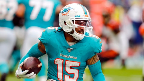 <p>               FILE - In this Dec. 22, 2019 file photo Miami Dolphins wide receiver Albert Wilson runs the football during the first half at an NFL football game against the Cincinnati Bengals in Miami Gardens, Fla. Dolphins newcomer Tua Tagovailoa is starting to connect with his receivers. And for now, veteran receiver Albert Wilson said Wednesday, May 13, 2020 long-distance hookups with the rookie quarterback will have to do. (AP Photo/Brynn Anderson, file)             </p>
