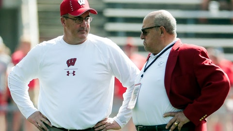 <p>               FILE - In this Sept. 15, 2018, file photo, Wisconsin head coach Paul Chryst, left, talks to athletic director Barry Alvarez before an NCAA college football game against BYU in Madison, Wis. Wisconsin announced Saturday, May 9, 2020, it is asking 25 of its highest-earning employees to volunteer for a 15% pay cut over the next six months. That group includes athletic director Barry Alvarez, football coach Paul Chryst and men's basketball coach Greg Gard. There won't be any reduction of work hours.  (AP Photo/Morry Gash, File)             </p>