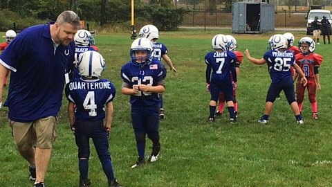 <p>               FILE - In this Sunday, Oct. 8, 2017, file photo, coach John Galligan, left, directs players during a Rookie Tackle youth football game in Islip, N.Y.  USA Football is implementing its Football Development Model nationwide, after six youth organizations around the country took part in a pilot program last year. (AP Photo/Ralph Russo, File)             </p>