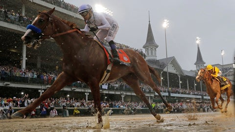 <p>               FILE - In this May 5, 2018, file photo, Mike Smith rides Justify to victory during the 144th running of the Kentucky Derby horse race at Churchill Downs in Louisville, Ky. The Run For The Roses is usually held on the first Saturday of May. Because of the pandemic, hold those mint juleps until Labor Day weekend, when the first leg of the Triple Crown is crammed into a slot that also marks the start of college football season. (AP Photo/Morry Gash, File)             </p>