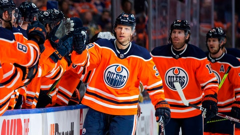 <p>               FILE - In this March 9, 2020, file photo, Edmonton Oilers' Alex Chiasson (39) celebrates his goal against the Vegas Golden Knights during the first-period of an NHL hockey game game in Edmonton, Alberta. Making it safe for America's professional sports teams to start playing games is one thing. Making sure athletes are in game shape is another. Experts say nothing should be rushed. Athletes in the NBA, NHL and Major League Baseball all indicate that a few weeks of training is necessary before any games. (Codie McLachlan/The Canadian Press via AP, File)             </p>