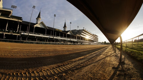 <p>               The sun rises over the track at Churchill Downs, Thursday, May 7, 2020, in Louisville, Ky. The Kentucky Derby has been postponed until Sept. 5 because of the coronavirus. (AP Photo/Darron Cummings)             </p>