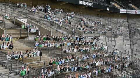 <p>               FILE - In this Thursday, April 16, 2020 file photo, portraits of fans of German Bundesliga soccer club Borussia Moenchengladbach are set on the supporters tribune in the stadium in Moenchengladbach, Germany. The coronavirus pandemic has changed almost everything about soccer in Germany, except Bayern Munich's chances of winning. When the Bundesliga resumes on Saturday, May 16 after a two-month suspension caused by the pandemic, Borussia Dortmund and Leipzig will be Bayern's main challengers.(AP Photo/Martin Meissner, file)             </p>