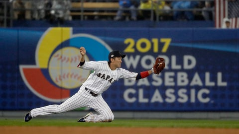 <p>               FILE - In this March 21, 2017, file photo, Japan's Hayato Sakamoto makes a catch on a ball hit by United States' Buster Posey during the fourth inning of a semifinal in the World Baseball Classic in Los Angeles. The World Baseball Classic will be postponed from 2021 to 2023 because of the new coronavirus, a person familiar with the planning tells The Associated Press. The person spoke on condition of anonymity Monday, May 11, 2020, because no announcement had been made. (AP Photo/Chris Carlson, File)             </p>